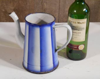 French Vintage Enamel Blue and White Coloured Coffee Pot