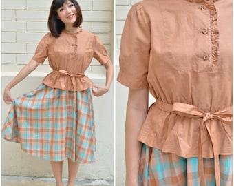 1950 Vintage Dress/ Yolanda Plaid Dress/ Small Dress/ Medium Dress/ Japanese Vintage/ Cotton Dress/ Orange Dress/ Cotton Dress/ Peplum Dress