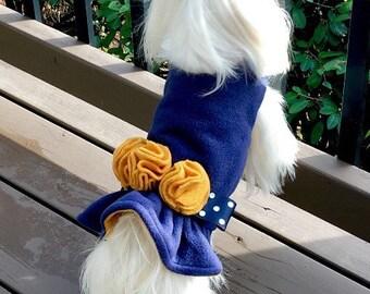 Navy n mustard Rosette Dog Jacket, Dog Coat, Dog Jackets, pet clothing, made in USA