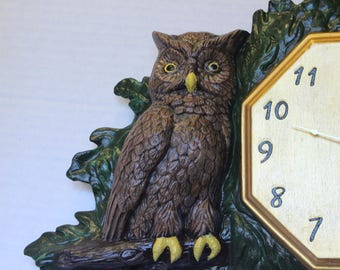 Owl Hand painted wall clock Bisque