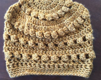 Puff stitch crocheted beanie