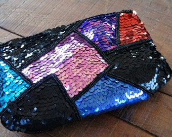 Black, Pink, & Blue Sequin and Beaded Evening Bag, Formal Purse, Shoulder Strap