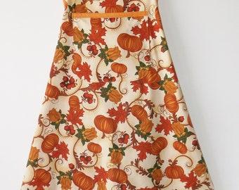 Fall Leaves & Pumpkins Bib Apron #2014