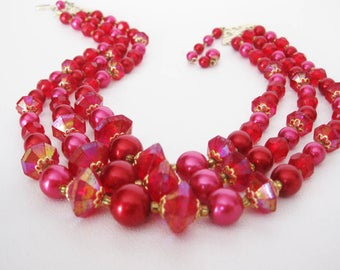 Triple Stand Mid Century Necklace, Beaded Vintage Choker Marked Hong Kong