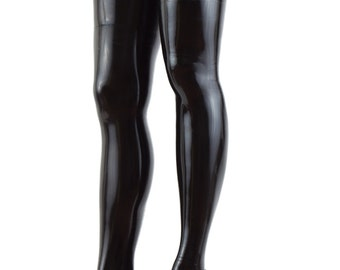 Latex Seamed Thigh High Stockings