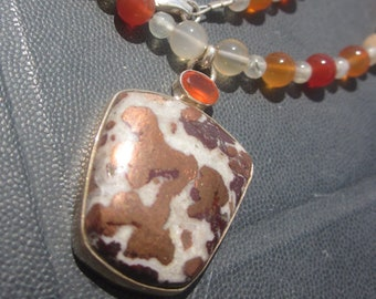 Copper Carnelian Prehnite Necklace