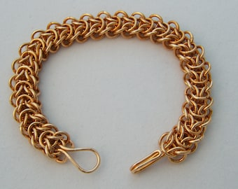 Bronze Elfweave Chain Maille Bracelet with Integrated Handmade Clasp