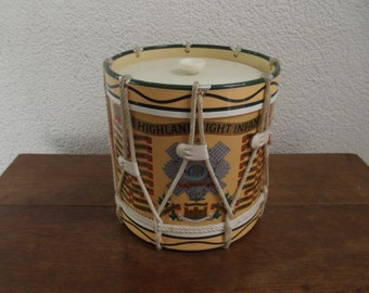 vintage ice bucket, The Highland Light Infantery, Military drum