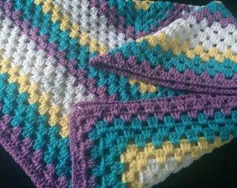 "Spring time pastel"" baby blanket for boy or girl"