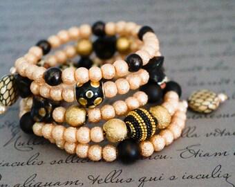 Bohemian bracelet Wild Cat Bracelet Spiral Bracelet Wrap Bracelet Cuff Bracelet,Animal print Wrap Bracelet Spiral Wrap bracelet beaded