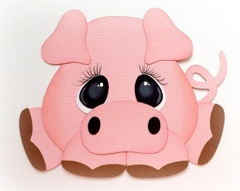 Adorable little chubby pig animal premade paper piecing 3d die cut by my tear bears kira