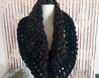 FREE US SHIPPING - Crochet, Cowl - Women's - Black, Maroon, Purple, Blue, Green