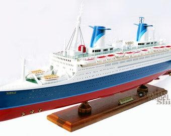 "40"" SS Norway Ocean Liner Handmade Wooden Ship Model"
