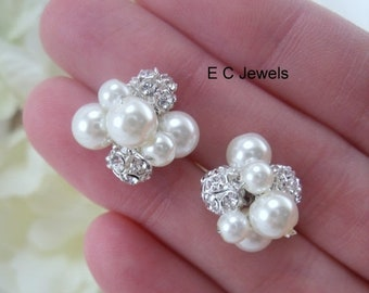 SHOP SALE Set of 8 Pearl, Rhinestone Cluster Hairpins - Pick your Color