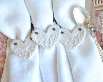 Mini Valentine's Day Salt Dough Napkin Rings Imprinted Hearts Set of 6