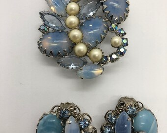 Juliana Opalescent brooch and matched earrings