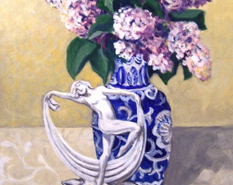 Dancing Lilacs, 11x14 acrylic still life