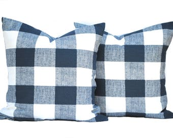 Two Blue pillow covers, decorative throw pillow, decorative pillow, accent pillow, Blue Throw Pillow, Plaid Pillow, Navy Pillow