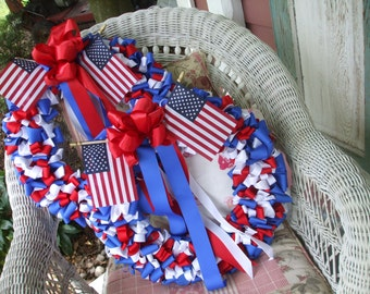 Wreath Patriotic Wreaths 18 inch Pair Red White Cobalt Blue Ribbon