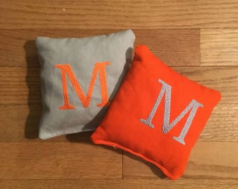 Monogram Corn Hole Bags BOTH SIDES Embroidery Only - Wedding Gift - Party Games - Family Reunion - Personalized Corn Hole - Engagement Bride