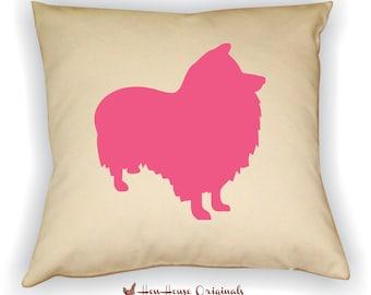 Sheltie Pillow Cover, Sheltie Art, Sheltie Gift, Sheltie Silhouette, Dog Breed Silhouette, Pet Silhouette, Dog Silhouette