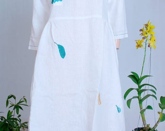 White dress. hand embroidery. Camellia flower hand embroidery. Handmade