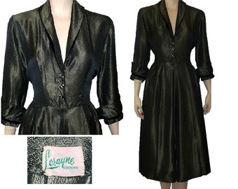 Changeable Taffeta - Vintage 1950's Dress - Medium
