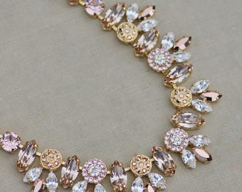 LAST ONE Blush Rose Gold Morganite Embellished Necklace,Swarovski Tennis Necklace,Marquise,Paved Pave,Gold Bridal Necklace,Layering,Unique
