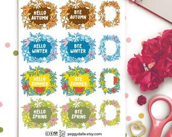 Seasons Greetings Planner Stickers |  Seasons | Spring | Summer | Autumn | Winter | Floral Wreath