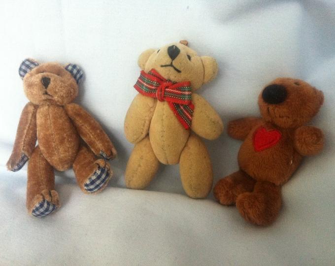 Vintage teddy Bear Miniatures 3 Pieces Teddy Doll Parlor toy