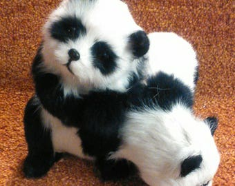 Panda Bears Pair Figurine, Made with Goat Fur,  Free Shipping