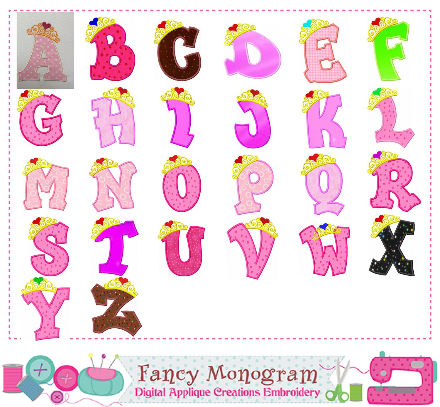 Crown Monograms AppliqueBirthday Letters AppliquePincess Crown
