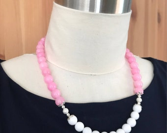 Pink and White Dyed Jade Silver Sparkle Necklace