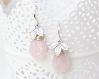Rose quartz earrings, Pink teardrop earrings, Silver leaves earrings, Quartz teardrop earrings, Pink bridal gift jewelry, Gift earrings 754