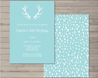Printable Birthday Party Invitation PDF - Antler
