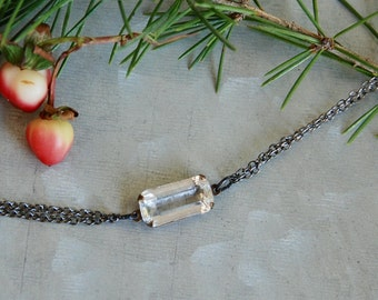 Gunmetal rhinestone bracelet,simple rhinestone bracelet,elegant bracelet,holiday bracelet,minimalist bracelet,art  deco style bracelet