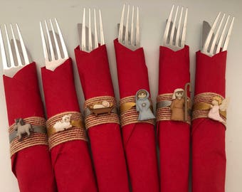 Christmas Flatware with Nativity Scene Napkin Ring, Nativity Napkin Ring, Disposable Christmas Flatware, Holiday Party Tableware