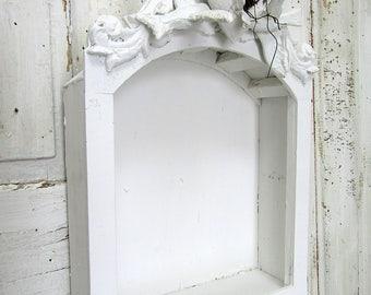 French Nordic white showcase niche plaster type over wood religious shrine display shelf shabby distressed wall hanging anita spero design