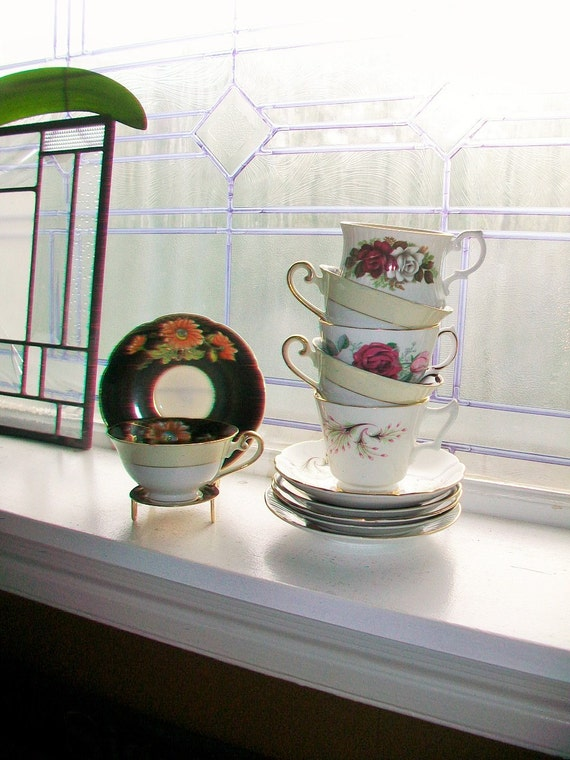 6 Vintage Tea Cups and Saucers Collection Mix and Match Sets Wedding Bridal Bridesmaid Shower Hostess Luncheon Gifts Bone China
