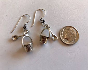 Sterling Silver Earrings-Sand Pail & Shovel Earrings