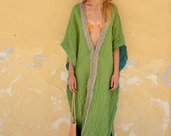 CLEO. Mint color long airy tunic coverup. Super soft linen poncho with lace.
