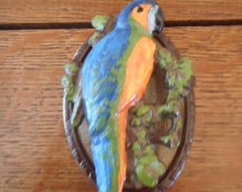 Hubley Parrot Cast Iron Door Knocker Bright Colors