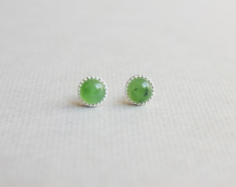 Tiny small green nephrite jade gemstone 4mm round sterling silver studs post earrings