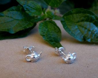Silver teapot earrings, Silver stud earrings, Tiny earrings, Gifts for her, Teapot earrings, Tiny teapot, Teapot earrings, Valentine Gift