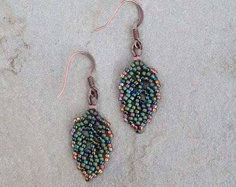 Small Elven Leaf Earrings in Equinox - Green Leaf Earrings - Woodland Fairy Jewelry - Forest Elf Cosplay - Autumn Leaf Earrings - Elvish