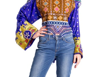 1970s Indian Rajasthani Embroidered Beaded Printed Silk Celebration Top