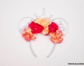 Floral Mouse Ears / Disney Ears / Wire Mouse Ears / Mickey Ears / Minnie Ears / Disney Princess Ears / Custom Disney Ears