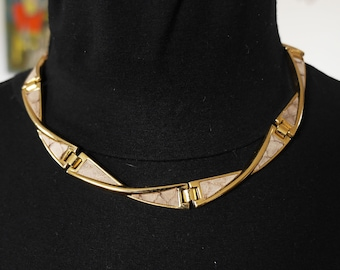 Choker--hinged - neck 80s - gold metal and leather