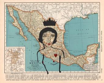 Heartbreak in Mexico-Mexico, Mexican Map, Map Print, Mexican, Heartbreak