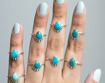 Rings * Pear Turquoise Ring * Turquoise Jewelry * Silver Turquoise * Dots * Silver Rings * Turquoise Band * Sterling Silver * Blue Turquoise